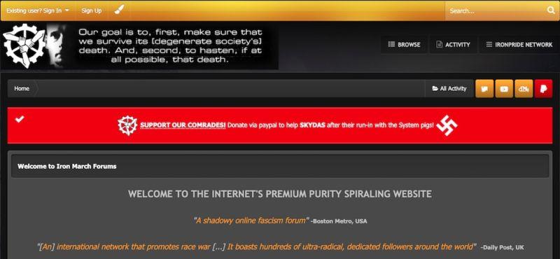 Capture d'écran du site web de la suprématie blanche.